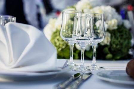 Bruiloft tabel in restaurant Stockfoto