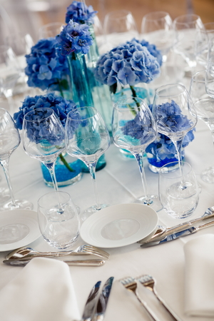 Wedding table setting in restaurant photo