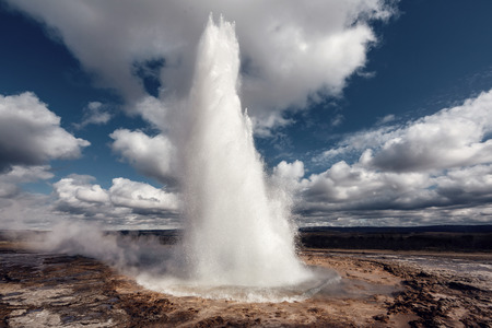 Eruption of Strokkur Geyser, Iceland