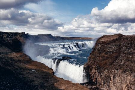 chasm: Gullfoss The Great Watefall, Iceland Stock Photo