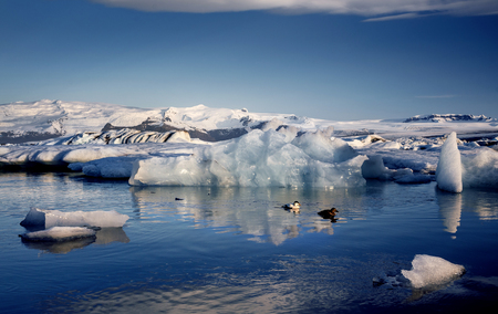 polar climate: View of the glacier lagoon, Jokulsarlon, Iceland Stock Photo