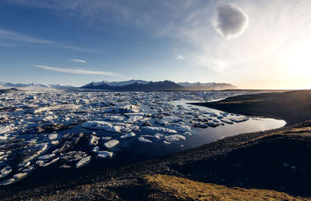 View of the glacier lagoon, Jokulsarlon, Iceland photo