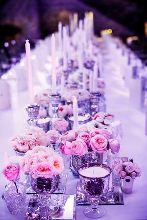 purple flowers: Wedding reception