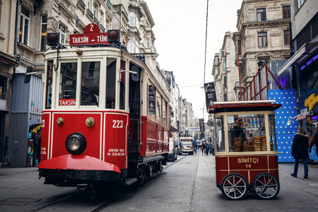 electric avenue: ISTANBUL, TURKEY - NOVEMBER 28: Old tram at Istiklal Avenue in Istanbul, Turkey on November 28, 2014