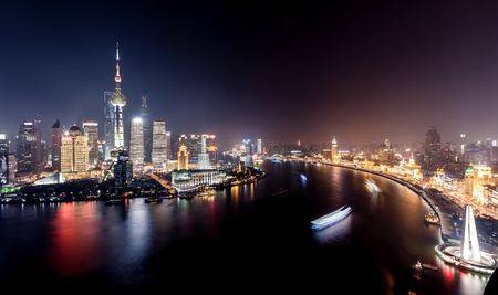 shanghai skyline: Shanghai city with bright lights Stock Photo