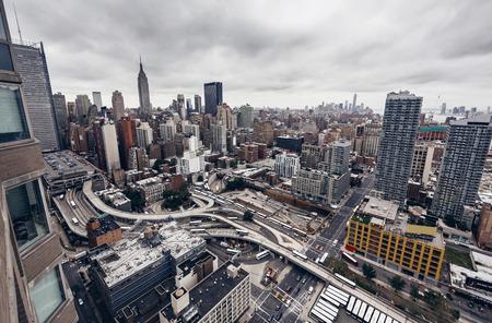 bird eye view: City buildings in New York Editorial