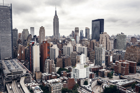 aerial views: City buildings in New York Stock Photo