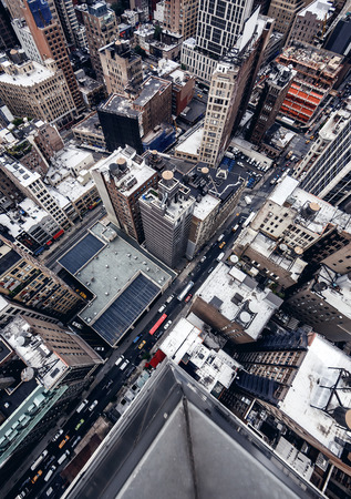 aerial: City buildings in New York Stock Photo