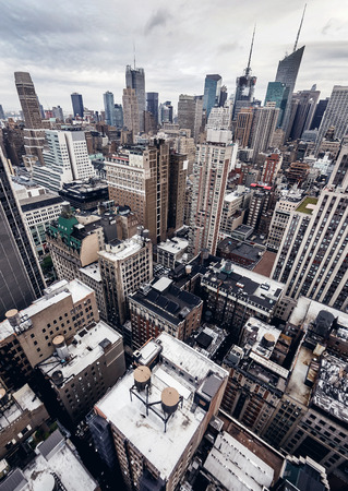 aerial view city: City buildings in New York Stock Photo