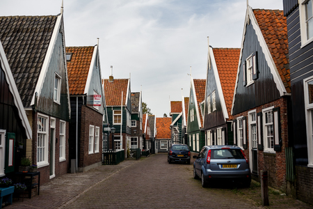 marken: MARKEN ISLAND, NETHERLADS - SEPTEMBER 28, 2014: Traditional houses on the island of Marken, Netherlands Editorial