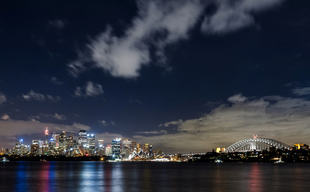 marine scenes: Sydney harbor and downtown buildings