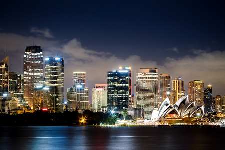 city in the night: View of Sydney Harbour Editorial