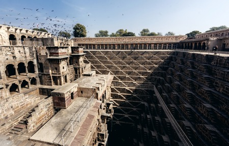 dausa: CHAND BAORI, INDIA - JANUARY 9, 2015: Chand Baori Stepwell in village of Abhaneri on January 9, 2015 in Chand Baori, India Editorial