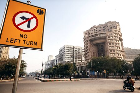 hause: DELHI, INDIA - JANUARY 4, 2015: Statesman house and road sign on January 4, 2015 in Delhi, India Editorial