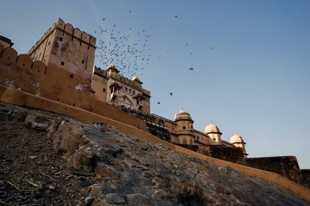 jaipur: View of Amer Fort on in Jaipur, India Stock Photo