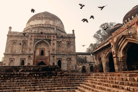dome of hindu temple: Lodi Gardens at sunrise in Delhi, India