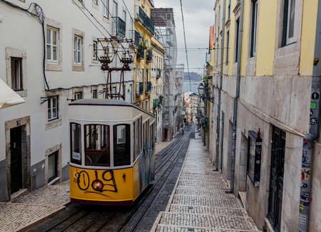 ascensor: LISSABON, PORTUGAL - OCTOBER 17, 2015: Famous Bica funicular on street of Lissabon. It was constructed by Raoul Mesnier de Ponsard and opened in 1892 Editorial