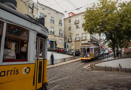 LISSABON, PORTUGAL - OCTOBER 17, 2015: Famous old tram on street of Lissabon