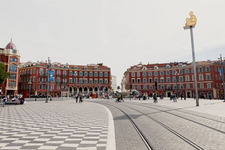 famous place: NICE, FRANCE - OCTOBER 4, 2015: The Famous Place Massena in Nice, France. The square was reconstructed in 1979