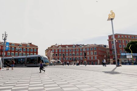 reconstructed: NICE, FRANCE - OCTOBER 4, 2015: The Famous Place Massena in Nice, France. The square was reconstructed in 1979