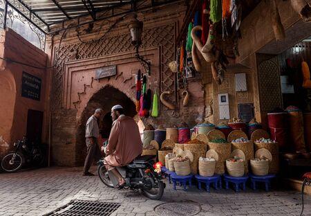 MARRAKECH, MOROCCO - OCTOBER 27, 2015:  Unidentified people at market in Marrakech medina near the UNESCO square Djemaa El-fna at Marrakesh, Morocco