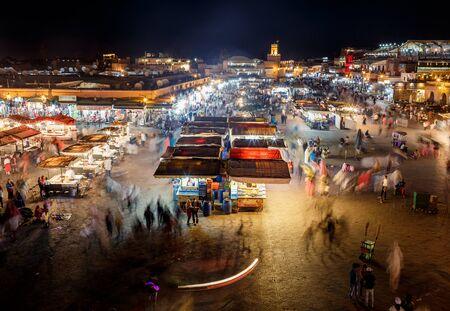 city night: MARRAKECH, MOROCCO - OCTOBER 27, 2015:  Top view of the UNESCO square Djemaa El-fna in Marrakesh, Morocco Editorial