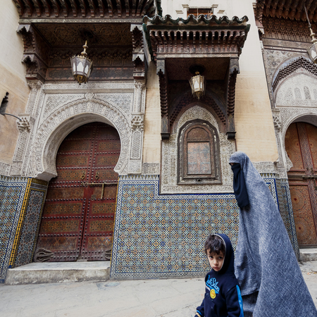 fes: FES, MOROCCO - NOVEMBER 1, 2015: People of Fes Medina, Morocco
