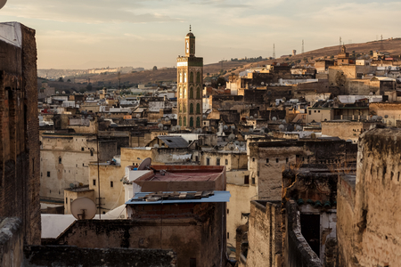 fes: Buildings of Fes medina at sunset, Morocco