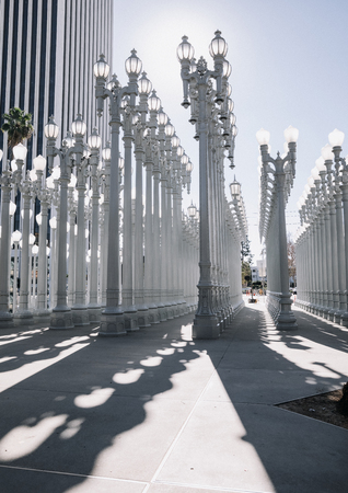 Los Angeles, CA - January 17, 2017: Urban Light is a large-scale assemblage sculpture by Chris Burden at the Los Angeles County Museum of Art. The installation consists of 202 restored street lamps.