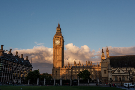 LONDON, UK - AUGUST 27, 2015: A London main sights. Westminster Parlament and Big Ben. Editorial