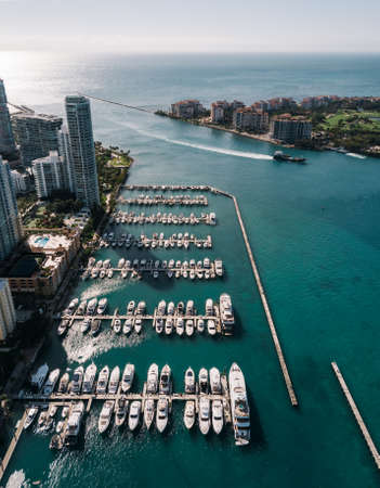 Aerial view of yachts in Miami Beach