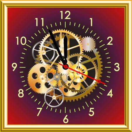 midnight hour: time clock mechanism, vector illustration EPS, clip art