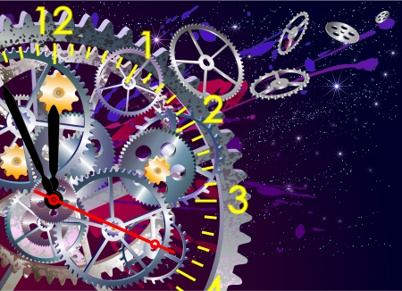 detonating: time clock mechanism, vector illustration EPS, clip art