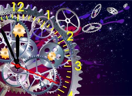 time clock mechanism, vector illustration EPS, clip art