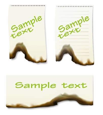 burning paper: burnt paper, vectoк illustration, clip-art
