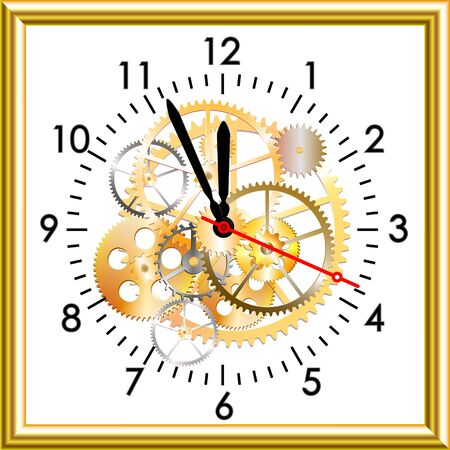 midnight hour: time clock mechanism, vector illustration, clip art