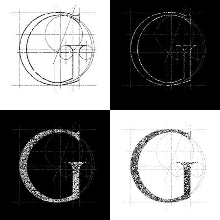 alphabetical order: decorative symbol G, vector illustration, clip art