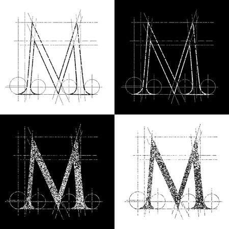 alphabetical order: dekorative symbol M, vector illustration, clip art