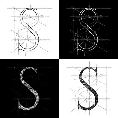 orthographic symbol: decorative symbol S, vector illustration, clip art