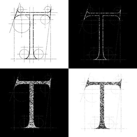 decorative symbol T, vector illustration, clip art