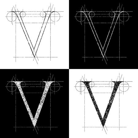 orthographic symbol: decorative symbol V, vector illustration, clip art Illustration