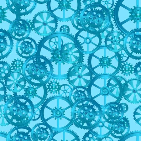 정오: 파란색 배경에 기어, 원활한 패턴 벡터 일러스트 레이 션 일러스트