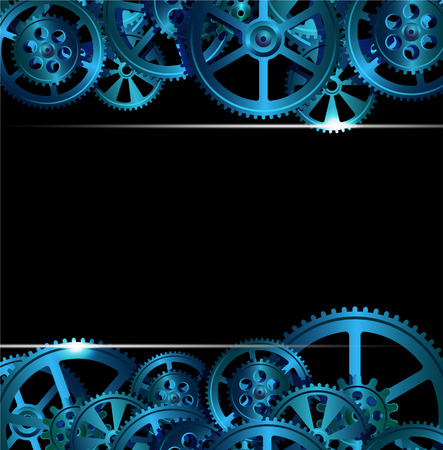 ghostly: gears on a dark blue background, vector illustration Illustration