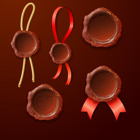 sealing: set of the sealing wax on the ribbon, vector illustratiov