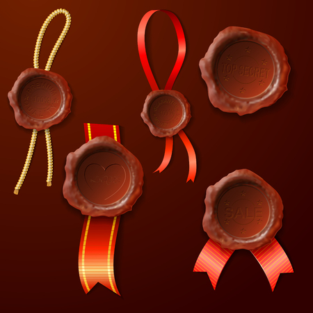 stamper: set of the sealing wax on the ribbon, vector illustratiov