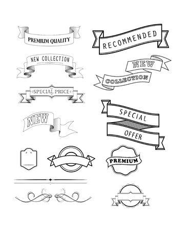 set of vintage labels and banners, vector illustration
