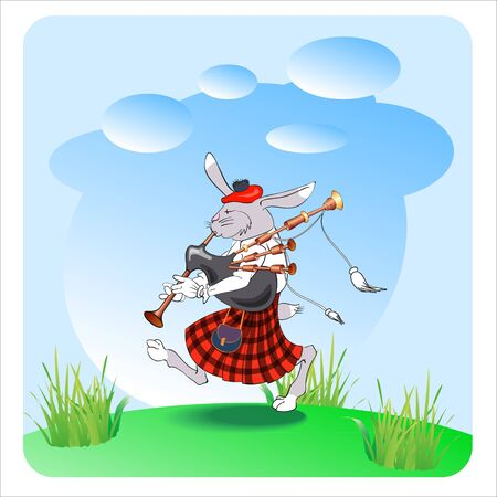 bagpipes: rabbit with bagpipes, vector illustranion