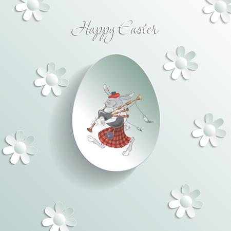 gaita: conejo con gaitas, vector illustranion