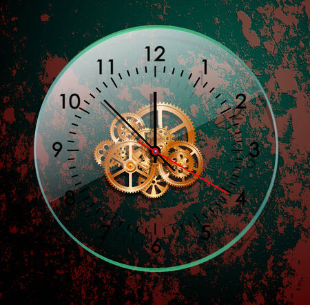midnight hour: time clock mechanism, vector illustration, Illustration
