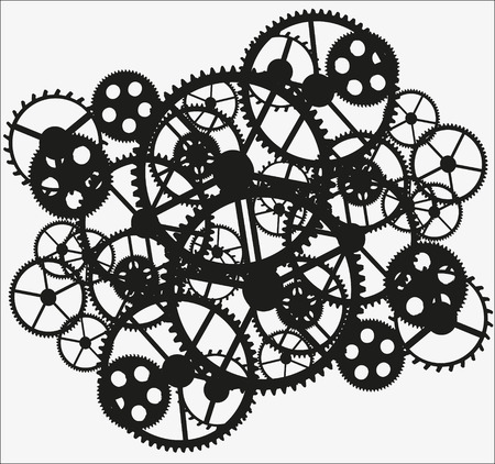 ghostly: black gears on white  background, vector illustration